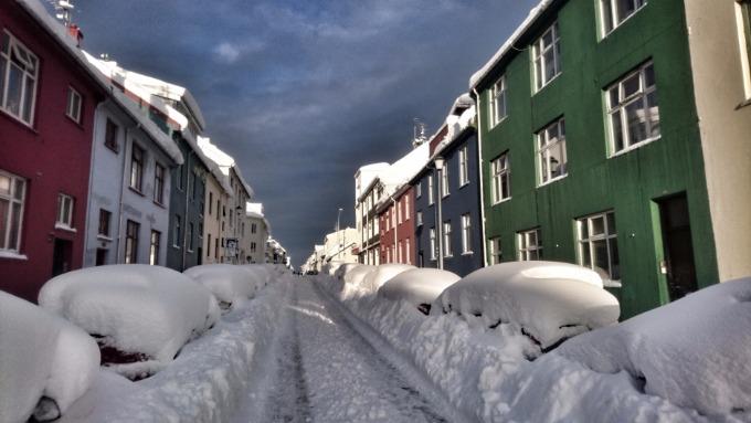 снегопад в Исландии